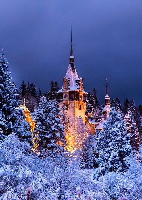 Snowy Night, Peles Castle, Romania photo via sandi. Just love the light in this photo.