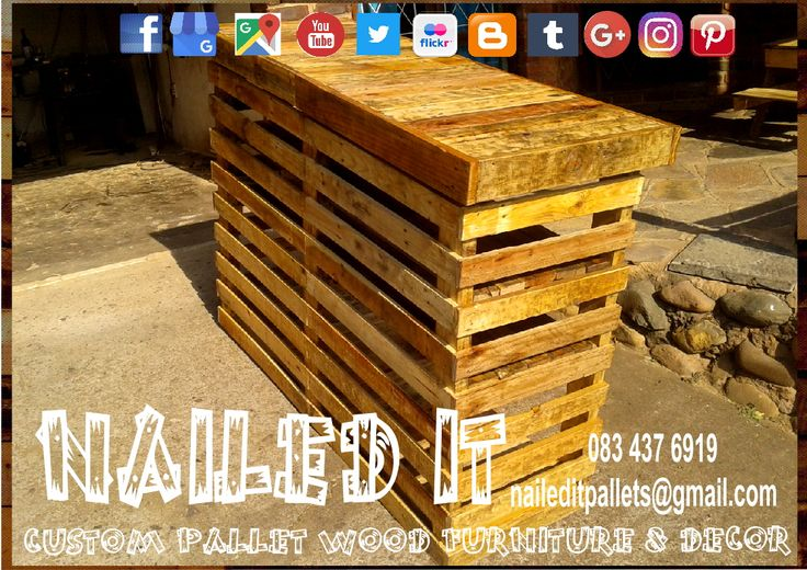 Custom Build Pallet Wood Bar Counters & Furniture & Accessories. Everything built to each client's specific needs & requirements. Suitable for indoor & outdoor use. Contact 0834376919 or naileditpallets@gmail.com for all your inquiries or quotes #palletgardenfurniture #barfurniture #barpalletfurniture #naileditpalletfurniture #customfurniture #palletfurnituredurban #custompalletfurniture #palletwoodfence #mancavefurniture #palletbarfurniture #palletfurniture