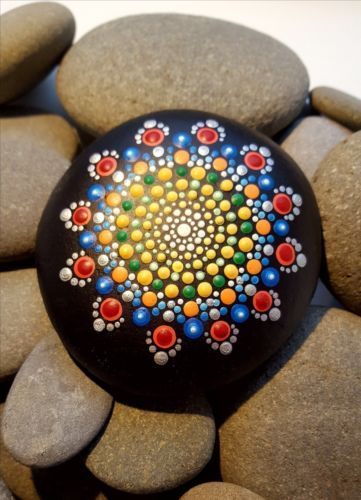 Hand-painted-mandala-pebble-paperweight