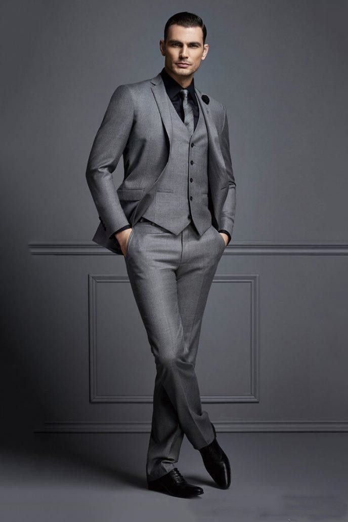 Handsome Grey Groom Wedding Suit Custom Made Cheap Mens Formal Suits Slim Fit Groom Tuxedos For Man Plus Size Jacket Vest Pants In 2020 Dress Suits For Men Wedding Suits Men Grey Mens