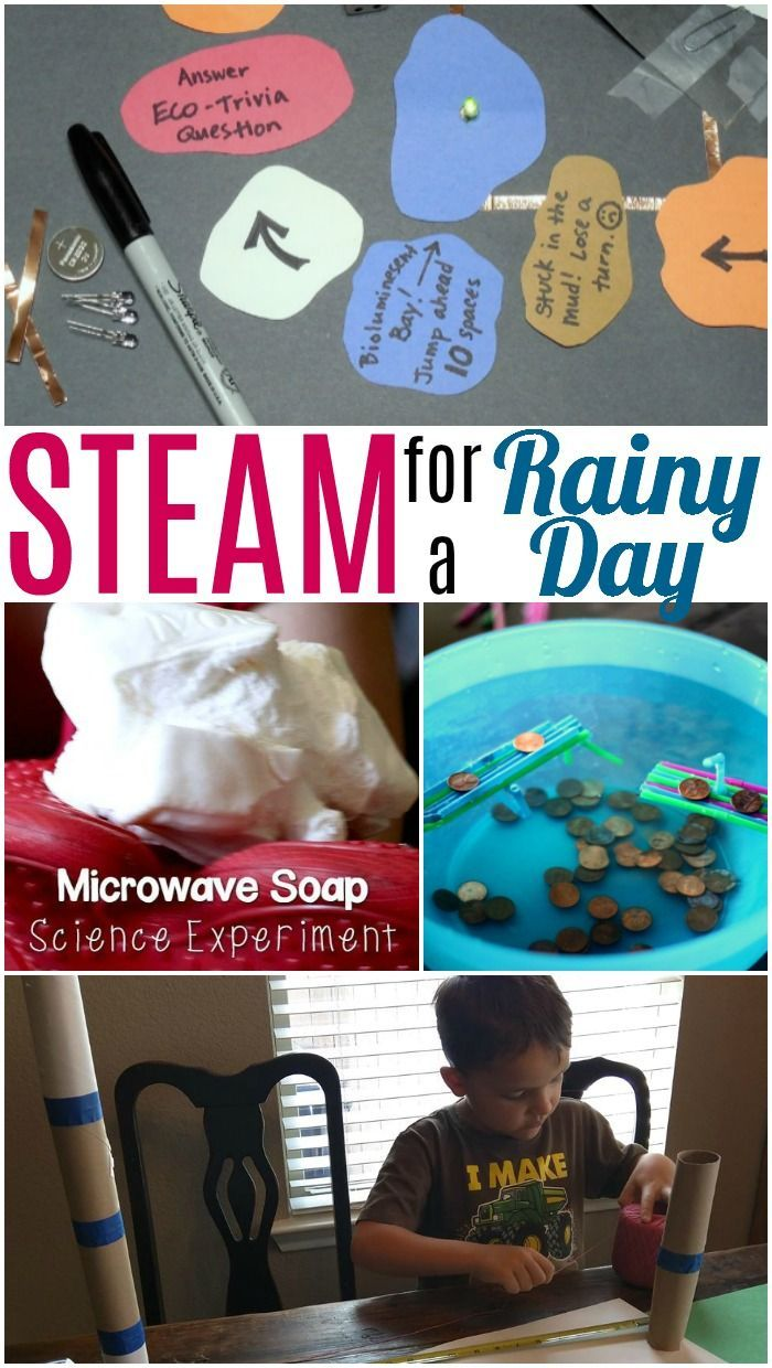 Fun and easy STEM activities for kids for a rainy day. Make a circuit game, microwave soap, learn how to be an engineer, and make a boat to float in puddles! #rainyday #fallcrafts