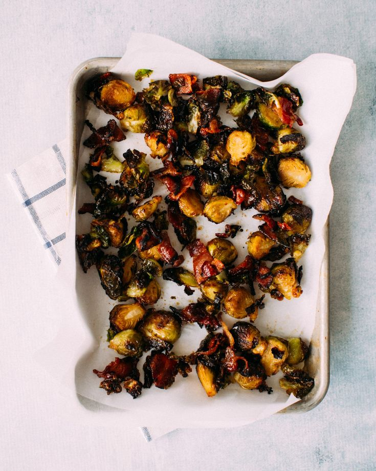 The crispiest roasted brussels sprouts with bacon and maple syrup.
