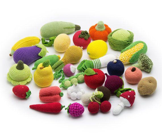 Großen Satz (30 Stück) - Gehäkeltes Obst und Gemüse, Beißring Zähne, Waldorf, ökologisches Babyspielzeug, spielen Food Küche - MiniMom-