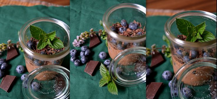 Chocolate mousse with blueberry and mint.