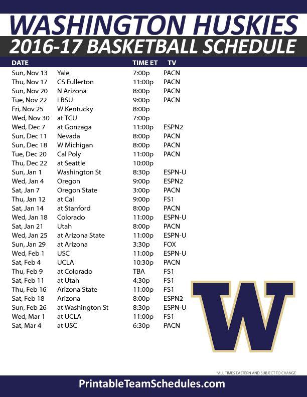 Washington Huskies Basketball Schedule 2016-17. Print Here - http://printableteamschedules.com/NCAA/washingtonhuskiesbasketball.php