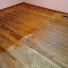 After washing these old hardwood floors with vinegar & HOT water 3 times... to remove the years of old dirt, I got on my knees to hand rub Old English Lemon Oil into the wood to bring it back to what it looked like in the 60's. 1/2 of the room done.