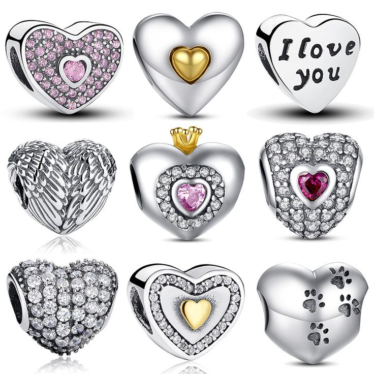100% Authentic 925 Sterling Silver Heart Shape Charm Beads Fit pandora Charm Bracelet DIY Original Silver Jewelry //Price: $18.68 & FREE Shipping //     #hashtag4