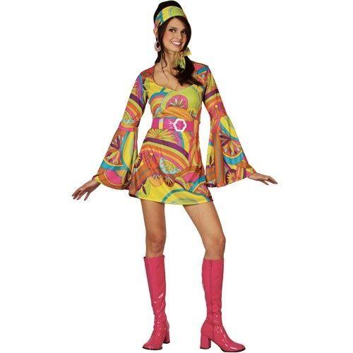 Details über Retro Go Go Girl 60S / 70S Kostüm für Erwachsene Disco Kostüm