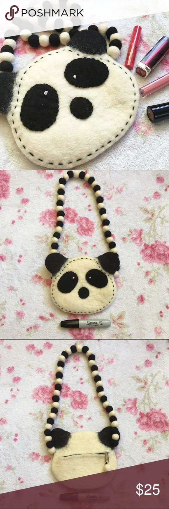 Felted Panda Face Kawaii Purse  Needle felted, wool panda face purse    The main portion of the face of the panda is off white and the details are black. The eye spots and nose are sewn on and there is black embroidery around the edges of the face    Zipper opens into a small pouch on back   Purchased from at an art fair, it's handmade    Sharpie is for scale   Keywords: Kawaii, purse, cutesy, handmade purse, pastel punk, Kawaii clothes Handmade Bags Mini Bags