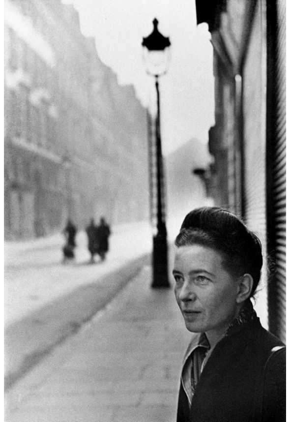 Simone De Beauvoir  by Henri Cartier-Bresson. Simone-Lucie-Ernestine-Marie Bertrand de Beauvoir, commonly known as Simone de Beauvoir, was a French writer, intellectual, existentialist philosopher, political activist, feminist, and social theorist.