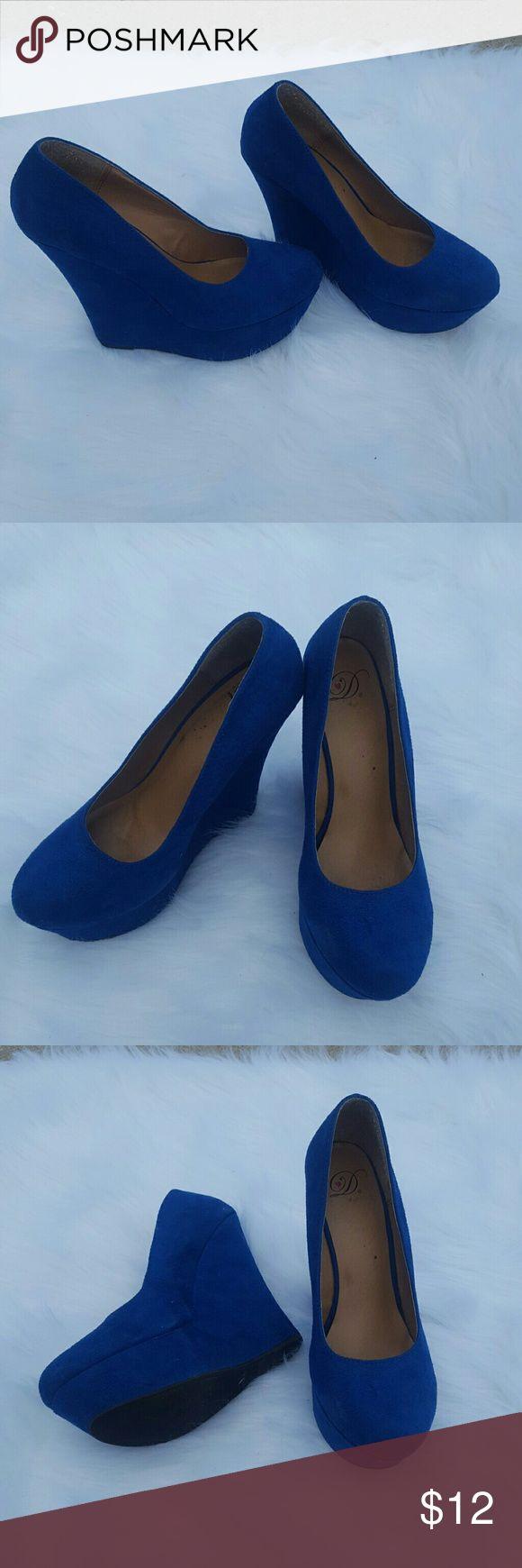 Royal blue suede platform wedges Royal blue suede platform wedges Shoes Platforms