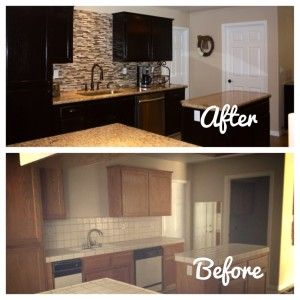 Great tutorial for gel staining the kitchen cabinets