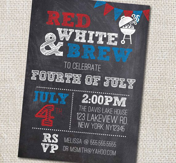 4th of July Party invitation Custom Printable on Etsy, $12.00