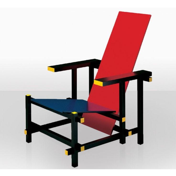 Cadeira vermelha e azul Rietveld 1917 Ela representa uma das primeiras explorações do De Stijl, movimento de arte em três dimensões.  A cadeira originalmente foi pintada de preto, cinzenta e branca. Contudo, foi depois modificado para se assemelhar às pinturas de Piet Mondrian, quando Rietveld entrou no contacto com o trabalho deste artista em 1918. Rietveld juntou-se ao movimento De Stijl em 1919. A cadeira actualmente está no museu de Montreal.
