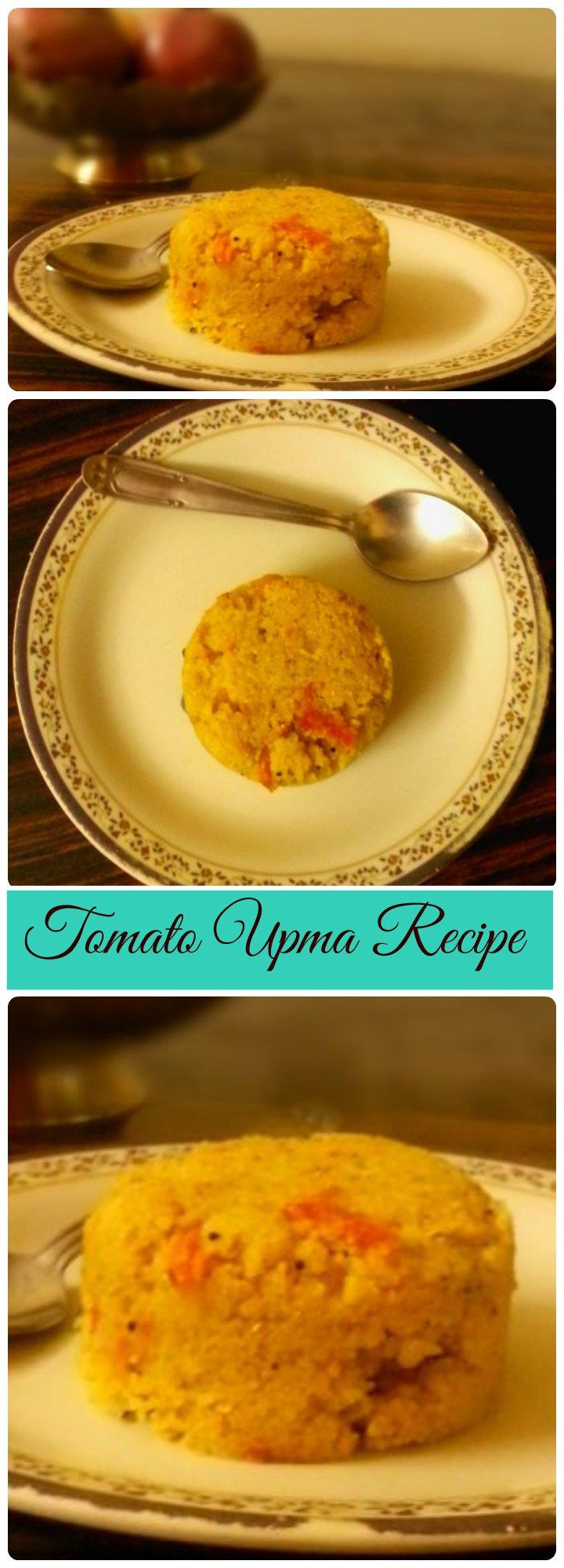Tomato Upma Recipe is a colourful and a slight tangy version of regular Upma. Roasted Semolina is cooked in Tomato Gravy by adding water. Adding little bit more Turmeric makes this Tomato Upma Recipe Colourful.