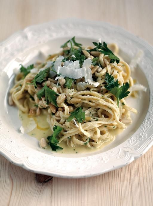 Summertime Tagliarini (In a delicious pine nut, lemon and parsley sauce)