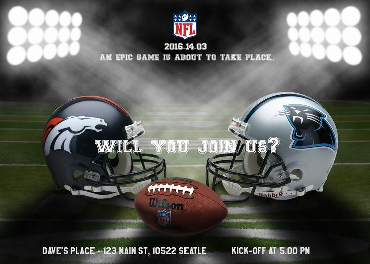 NFL Invitation - Choose your team! Digital Invitations (jpg and pdf ) files) Denver Broncos, Seattle Seahawks, New England Patriots, Carolina Panthers, Dallas Cowboys, Houston Texans, Los Angeles Rams, New York Giants, San Francisco 49ers ...