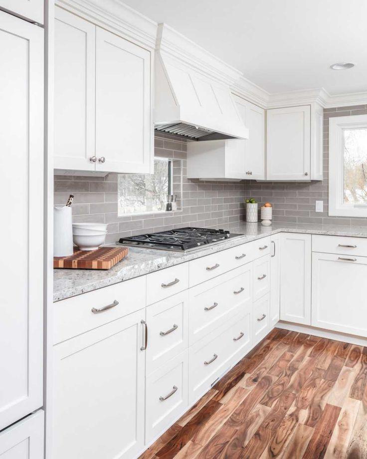 White Kitchen | White cabinets with granite, Acacia wood ...