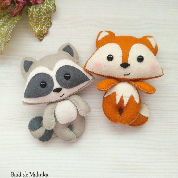 Felt raccoon ornament pattern woodland Plush sewing tutorial PDF pattern toy Raccoon ornament DIY felt tutorial softi Raccoon sewing pattern