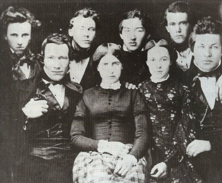 (1853) James A. Garfield (far right, front row) with his classmates at Western Reserve Eclectic Institute (later named Hiram College).  His future wife, Lucretia Rudolph, sits next to him.
