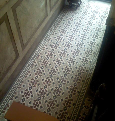 Flowering Hexagonal Tile Pattern with Greek Style Edging Where: 22 Howard Street, NYC