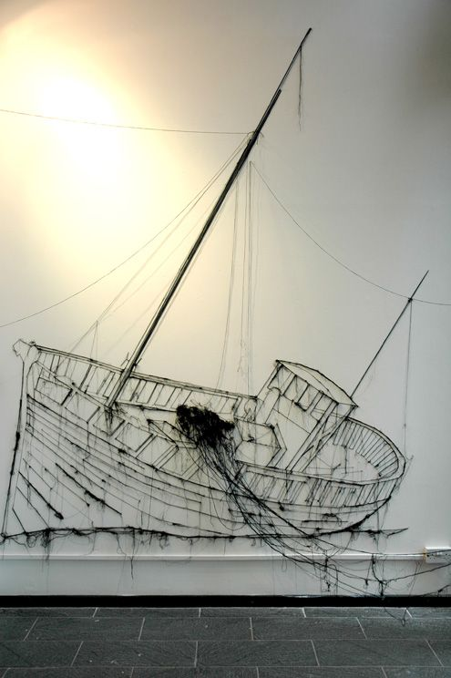 drawings in thread. could be used as sculpture project along with drawing and possible paint as a drip painting