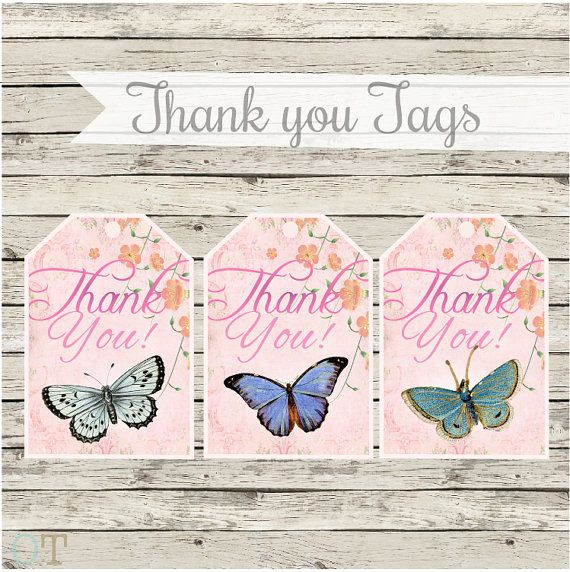 Butterfly THANK YOU Tags GARDEN Butterfly Theme Girl Baby