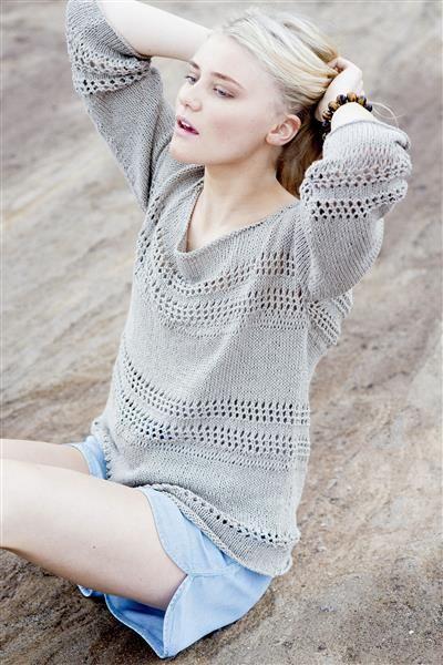 1505: Design 13 Genser med hullmønster og 3/4 erme #Line #bomull #cotton #lin #linen
