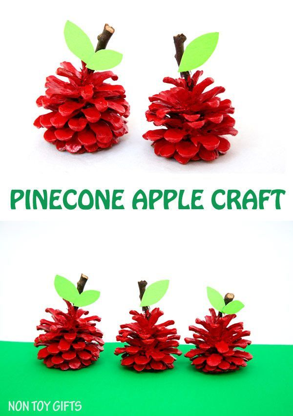 An easy pinecone apple craft for kids. Use can use the pinecone apples as back to school gifts for teachers. It's a fun nature craft to try this fall.