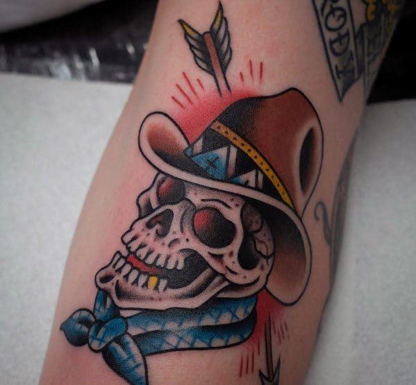 60 Cowboy Hat Tattoo Ideas For Men Western Designs In 2020 Cowboy Hat Tattoo Tribal Arm Tattoos Cowboy Hats