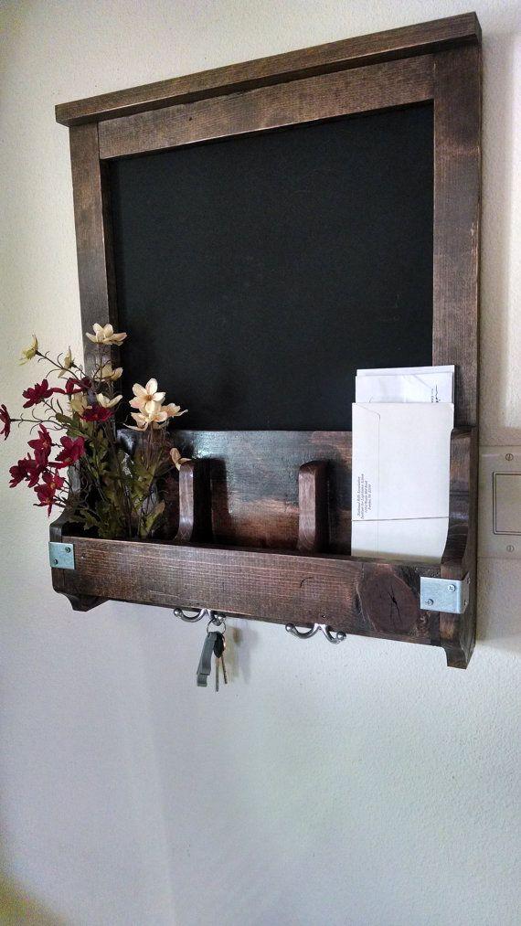 Entry/Kitchen Organizer-  Chalkboard, Key Holder, and Flower Holder- Real Wood- Natural Distressed Design, and Unique.