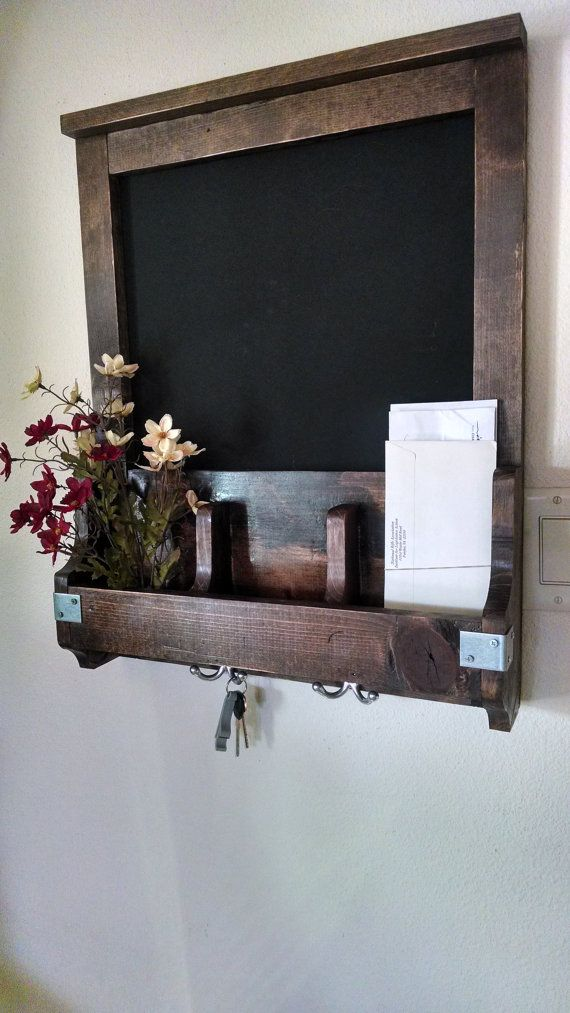 Entry/Kitchen Organizer-  Chalkboard, Key Holder, and Flower Holder- Real Wood- Natural Distressed Design, and Unique.