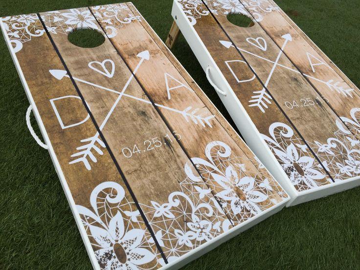 Lace Corners Custom Cornhole Board Set by WGCornhole on Etsy https://www.etsy.com/listing/227376841/lace-corners-custom-cornhole-board-set