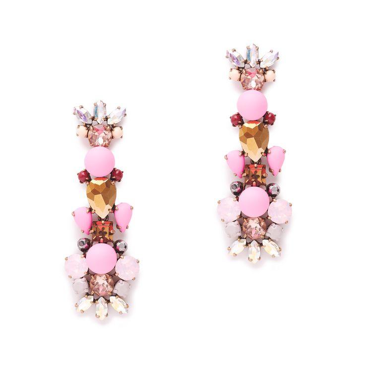 J.Crew women's crystal foliage earrings in wild berry.