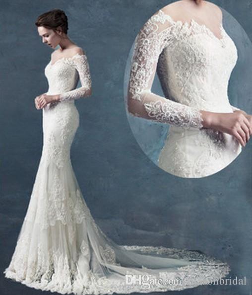 Wholesale Mermaid Wedding Dresses - Buy Vestido De Novia Off-shoulder Mermaid Appliques Lace See Through Long Sleeves Tulle Beading Wedding Dresses Bridal Gown, $166.18 | DHgate.com