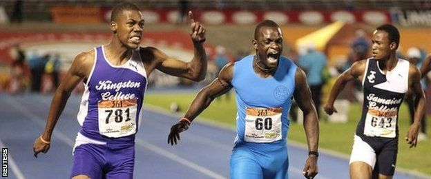 Zharnel Hughes (L) beat Yohan Blake's 100m record when he won the Schools Championships last weekend.