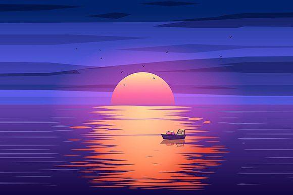Fishing boat sunset vector