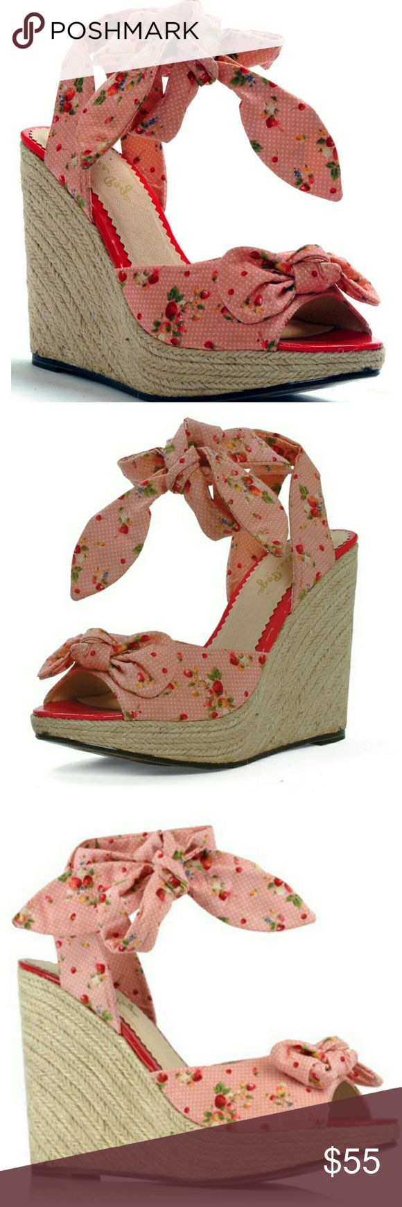 Strawberry PinkBettie Page Wedges Brand New, unused Strawberry Bettie Page Wedges Size 10! Bettie Page  Shoes Wedges