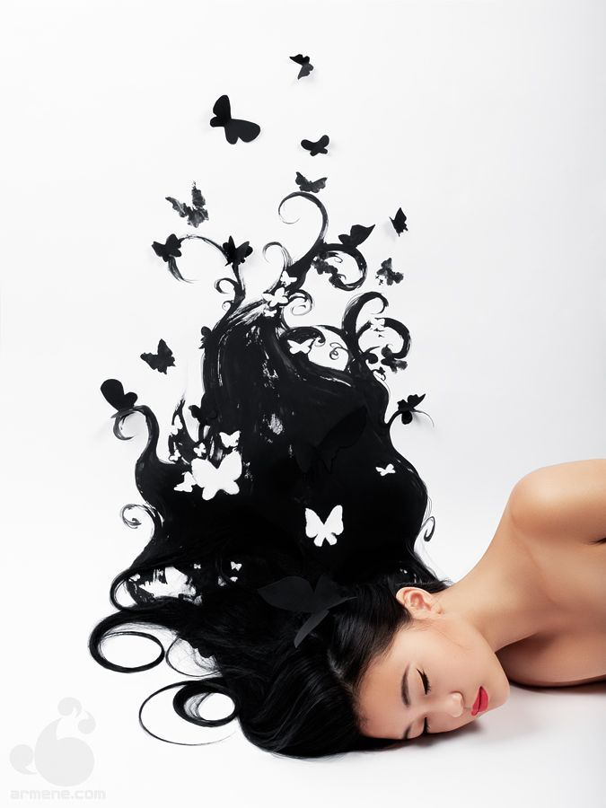 Mind Blown by armene.deviantart.comOlga Zavershinskaya, Dark Hair, Fashion Models, Butterflies, Digital Art, Mindfulness Blown, Photography Portraits, Portraits Photography, Art Projects