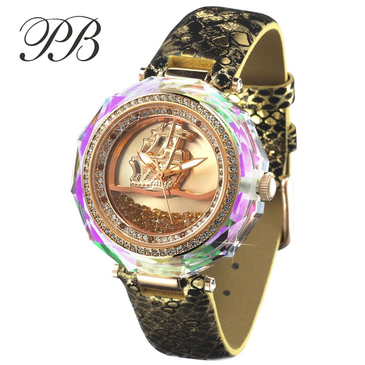 Find More Women's Watches Information about PB Brand Austrian Crystal Gems Luxury Gold 3D Sailing Ladies Dress Watches Top Genuine Leather Women Quartz Watch montre femme,High Quality watch lanyard,China watch men Suppliers, Cheap watch mobil from YIKOO Watches Store on Aliexpress.com