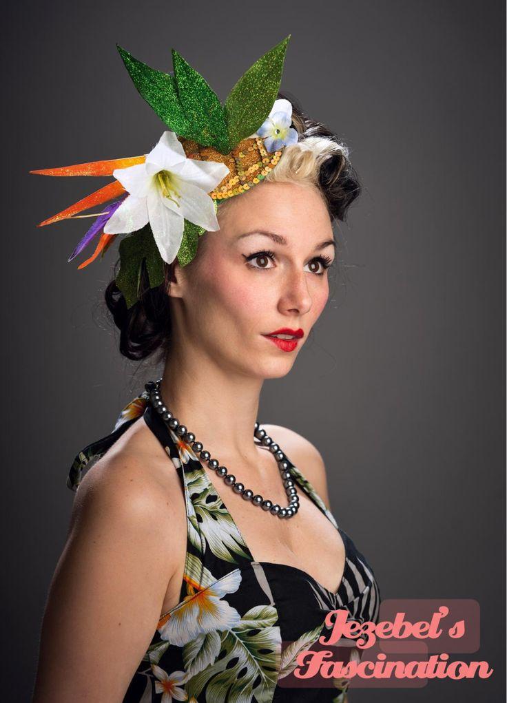 Tropical Glittered Pineapple Polynesian Fascinator Floral Headdress Lily Headpiece Hawaiian