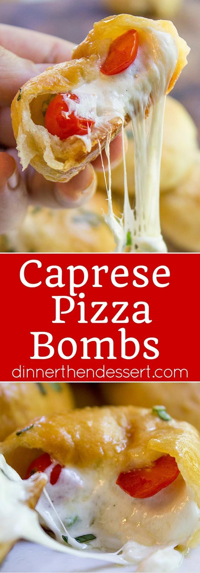 Caprese Pizza Bombs are a quick, fun treat or appetizer with fresh mozzarella, basil and cherry tomatoes. Plus the stretchy cheese factor is amazing. ad /stellacheese/