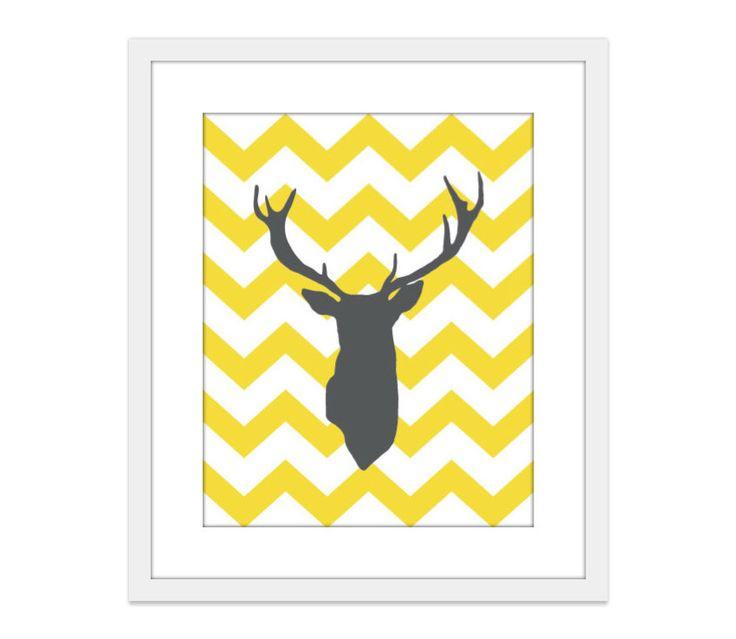 Cerf bois cerf Chevron Art Print jaune et gris Modern Home Decor zig-zag par AldariArt sur Etsy https://www.etsy.com/fr/listing/75306283/cerf-bois-cerf-chevron-art-print-jaune
