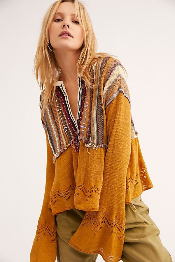 a7121205d Meadow Lakes Sweater - Mustard Gold Sweater Top with Striped Fabric  Shoulders - Boho Sweater Top - Boho Sweaters - Gold Sweaters
