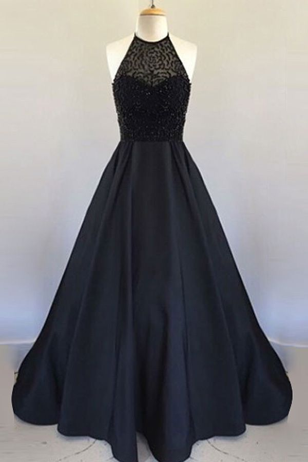 Halter Black Handmade Prom Dress,Long Prom Dresses,Prom Dresses,Evening Dress,