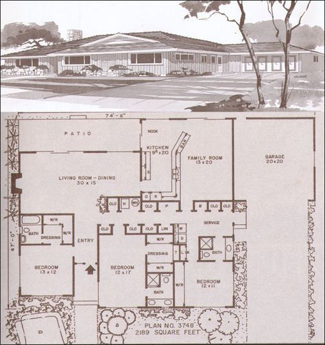 Mid century modern house plans modern homes for Small rambler house plans