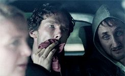 "Sherlock Holmes needs to pee in a cup gif. ""And Sherlock realizes how disappointed John will be with him."""