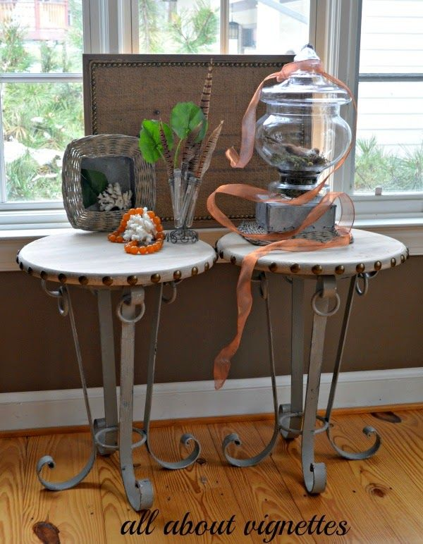 how I created tables with a base, some pre-cut wood, paint, and nail head All About Vignettes: Curly Iron-Based Side Tables with Nail Head Trim