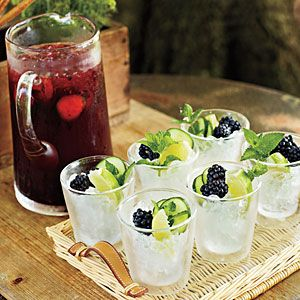 1 (0.75-oz.) package fresh mint sprigs  12 (1/4-inch-thick) cucumber slices   2 (6-oz.) packages fresh blackberries   3/4 cup fresh lime juice (about 3 limes)   8 to 12 tsp. turbinado sugar  1 cup plus 2 Tbsp. gin  1 cup cold club soda   Crushed ice  Garnishes: cucumber slices, fresh blackberries, lime wedges, lemon mint sprigs