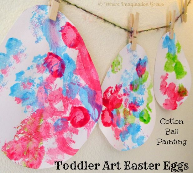Easter eggs craft for toddlers using cotton balls & paint!